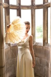 Antique Ostrich Feather Fan and 1960s Gown