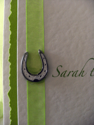 Lime Horseshoes Postcard Invite Close up