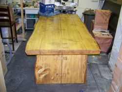 "Douglas Fir table with ""butterfly"" joints,45""X8'"