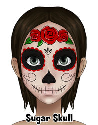 Triple Rose Sugar Skull Design