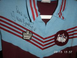 Signed and worn Sir Trevor Brooking shirt