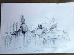 Crtez motiva grada Banjaluke akademskog slikara renata Rakica.