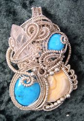 Turquoise, Agate, Crystal in SS