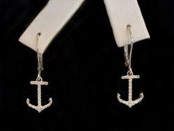 14k white gold diamond anchor leverback earrings