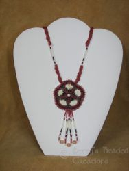 Embroidered Beaded Pendant with Red Bay Labrador Quills