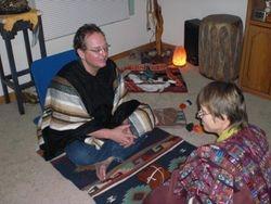 Dale preparing to initiate a student's mesa