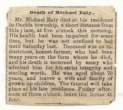 Michael Ealy Obituary, probably 1889