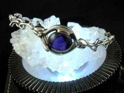 09-00128 Amethyst Cabochon Sterling Link Bracelet