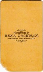 Benj. Lochman, photographer of Allentown, PA - back