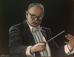 """Ennio Morricone"", ""Composer"",  ""Musician"", ""orchestrator"", ""conductor"","" trumpet player"",acrylic on canvas, by Fin Collins, part of The Film Icons Collection www.filmiconsgallery.com"
