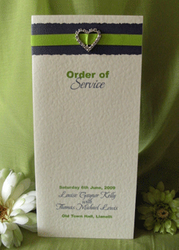 Lime Diamante Heart Order of Service