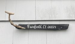 Town Name Driftwood Whale Sign