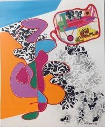 Acryl mit Tusche und Collage