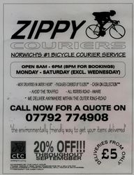 Advert for Zippy Cycle Couriers