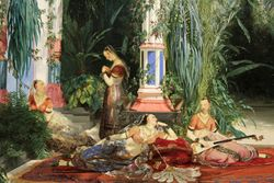 Blechen, Interior of the Palm House, 1834, Chicago, detail