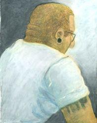 Tatoos and Glasses, Oil Pastel, 11x14, Original Sold