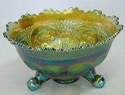 Horse Medallion ftd nut bowl, aqua