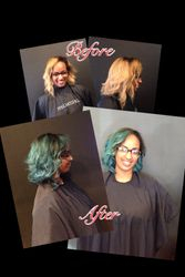 Blond to Teal