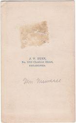 J. W. Hurn, photographer of Philadelphia, PA - back