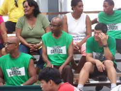 Rodwell and other spectators on the bleachers