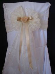 Ivory, wide with ribbon.