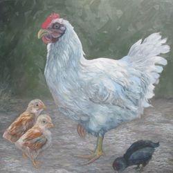 """Mother Hen, oil/panel, 20"""" x 20"""""""