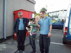 keith and  Chris with Scamp and Joanna