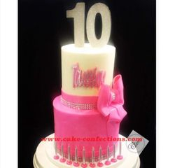 Pink / White / Silver 10th Birthday Cake