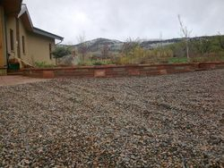 Red and buff strip stone mixed Planter box in Boulder Colorado