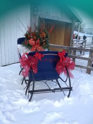 Beautiful Christmas Sleigh in front of the barn
