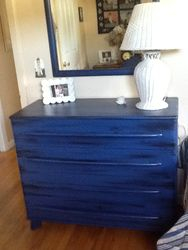 blue antiqued with black dresser