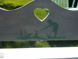 Hand painted childrens bench closeup