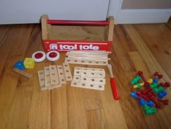 Sandberg 1970's Tool Tote Toolbox Toy Solid Wood - $12