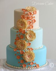 Coral and Tiffany wedding Cake