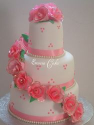 Pink and White Wedding Cake3 (W028)