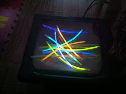 Hmm glow sticks on the projector?
