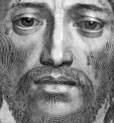 Mellan, Holy Face, 1649, detail of a virtuoso engraving made from a single line