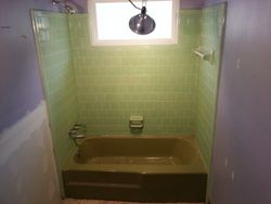 Teal Tile & Tan Tub Before