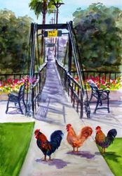 Chickens and The Swinging Bridge (Vertical)