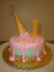 6 inch melting ice cream cone cake $65