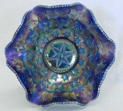 Many Stars ruffled bowl, blue satin