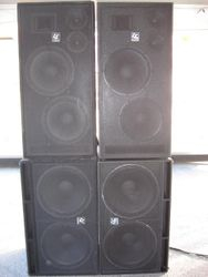 Eight 18 inch Subs, Eight 15 inch Drivers, Eight 6 inch Mids and 4 Horns