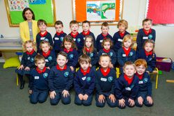 Ms Crowley with her Junior Infants 2015