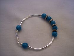 Turquoise  & silver plated beads