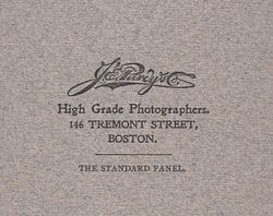 J. E. Purdy, , photographer, Boston, Massachusetts - back