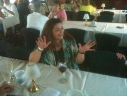 Ann Peltier enjoying herself on the cruise - photo by the Gores