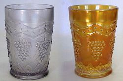 Lattice and Grape tumblers, lavender and marigold