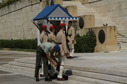 Changing of the guards at the memorial of the Soldier with no Name. First they are inspected to make sure the costume is neat and all in place