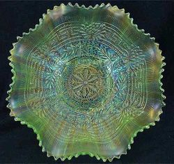 Embroidered Mums ruffled bowl, ice green