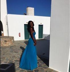 Nigerian Supermodel Genevieve Nnaji befory the wedding ceremony celebrating her arrival in Mykonos
